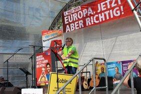 Sabrina Kunz, Landesvorsitzende der GdP Rheinland-Pfalz, war Hauptrednerin in Koblenz