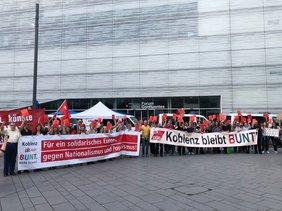 Manfred Kirsch beim Protest GewerkschafterInnen für ein solidarisches Europa, gegen Nationalismus und Populismus